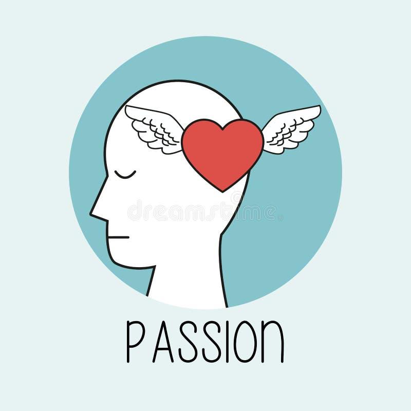 Passione della testa umana di profilo royalty illustrazione gratis
