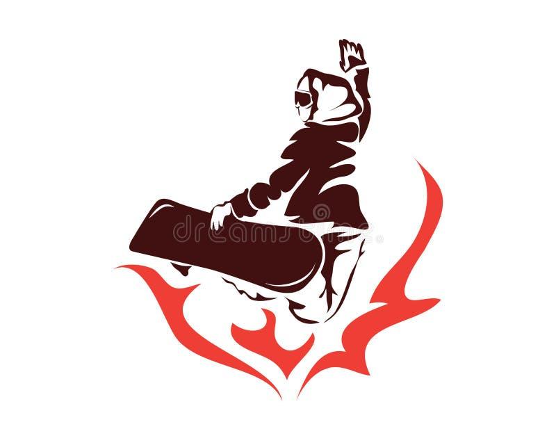 Passionerade vintersportar som flammar Snowboardingytterlighet, poserar idrottsman nen Logo royaltyfri illustrationer