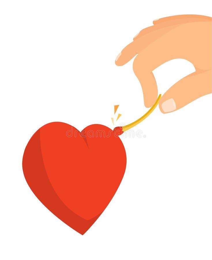 Passionerat antända för hjärta älskar gnistor med matcher stock illustrationer