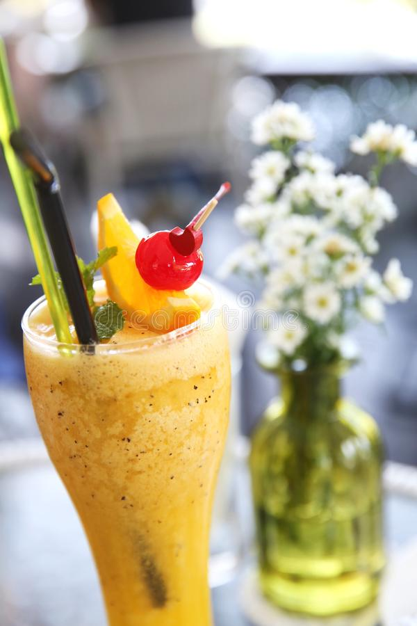Passion fruit juice. In close up stock image
