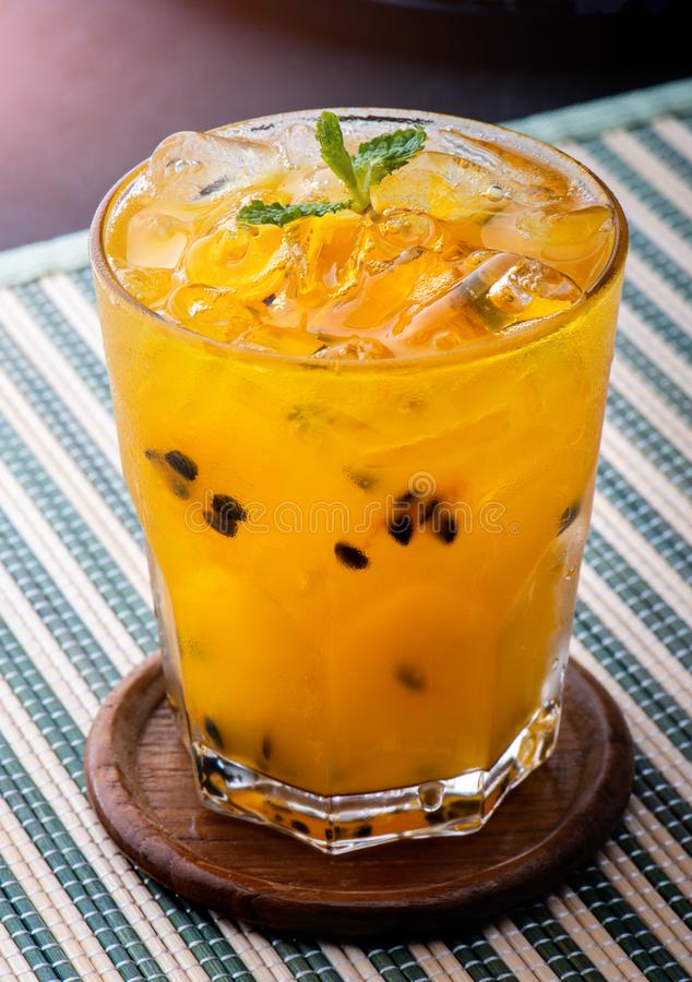Passionfruit juice with ice ready fro drink. royalty free stock photo