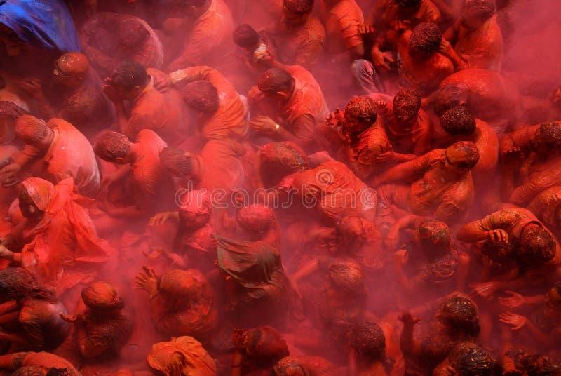 Passionnés au festival de Holi photos libres de droits