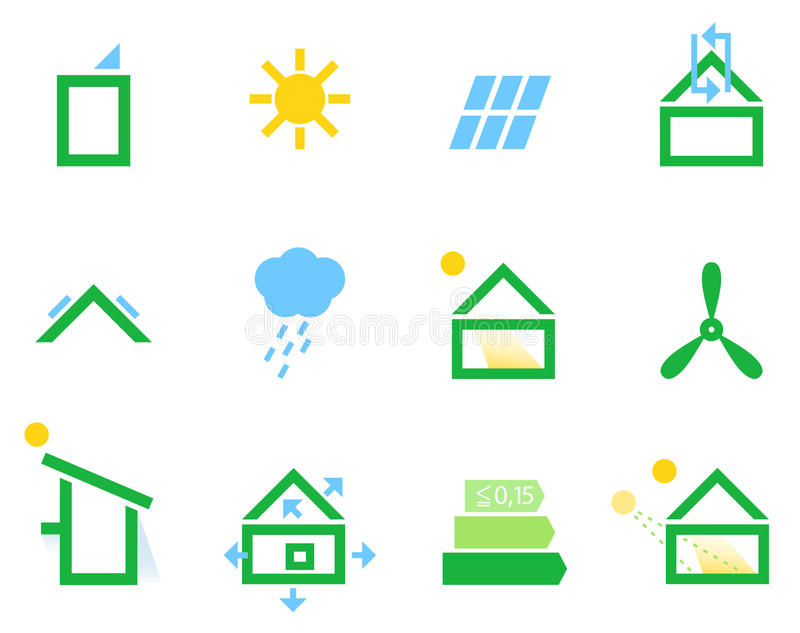 Passive House Icons Stock Photo