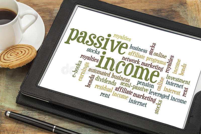 Passive income word cloud stock photo