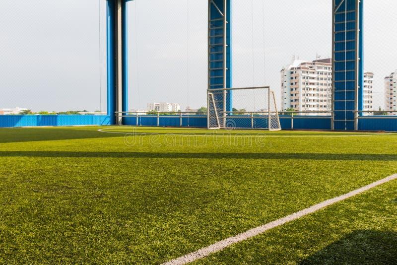 Passo artificiale di calcio dell'interno dell'erba fotografia stock libera da diritti