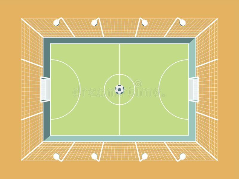 Passo cercado do futebol/futebol com iluminação e rede Campo de esporte da cidade ilustração do vetor