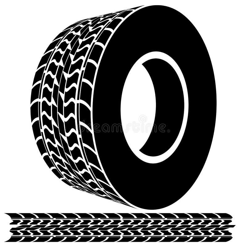 Passo e trilhas do pneu ilustração royalty free