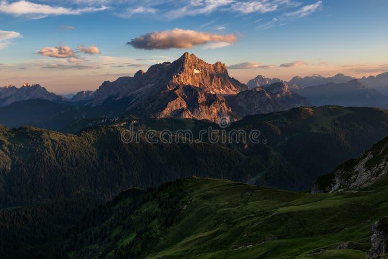 Dolomites, Italy, Sunrise in Giau royalty free stock photo