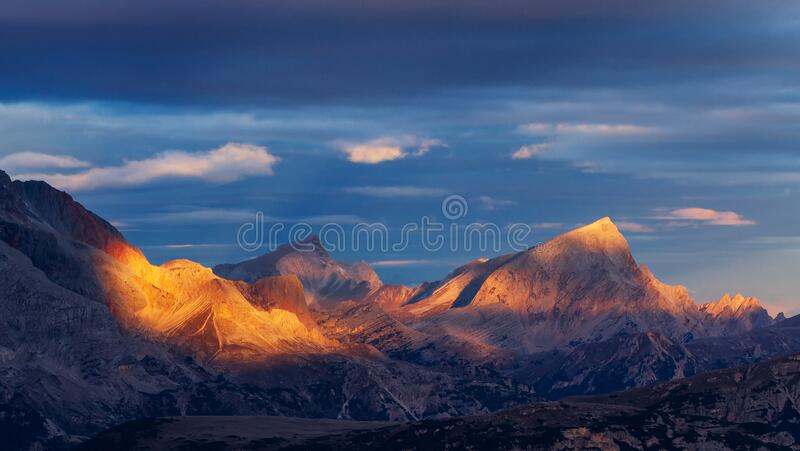 Dolomites, Italy, Sunset in Giau stock photography