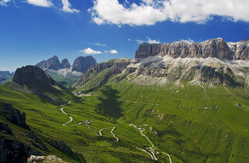 Download Passo Pordoi stock image. Image of dolomites, bend, mountains - 7106745