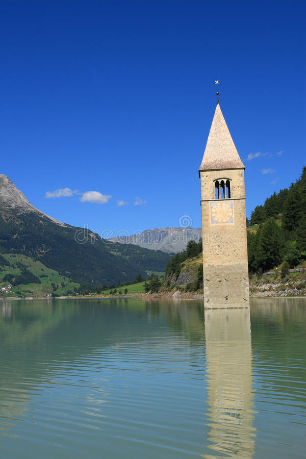 Download Passo Resia - Curon Bell Tower Stock Image - Image: 16347289