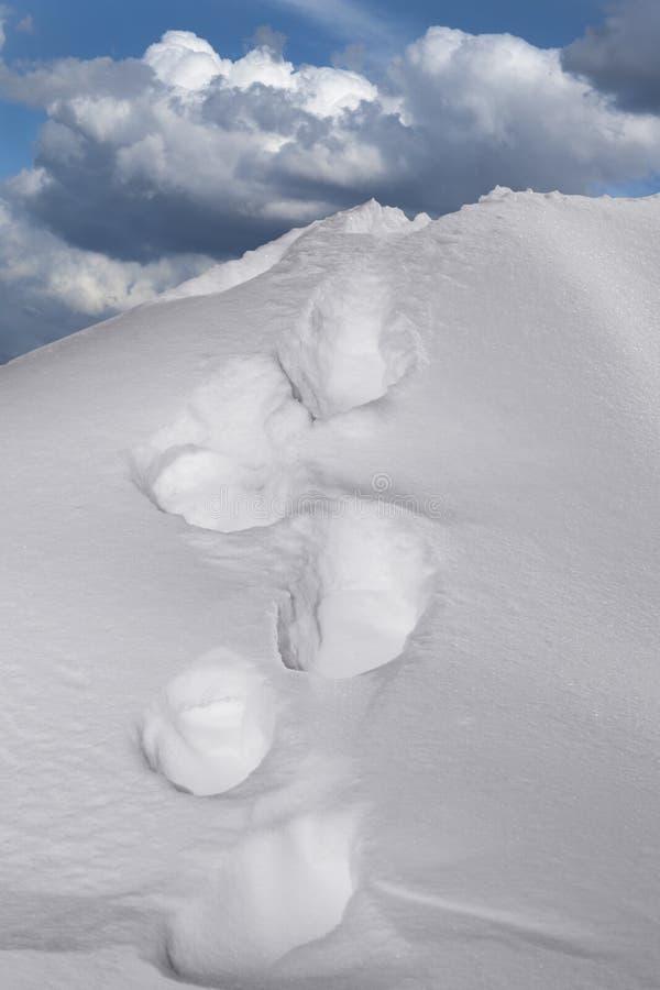 Passos na neve na montanha fotografia de stock royalty free