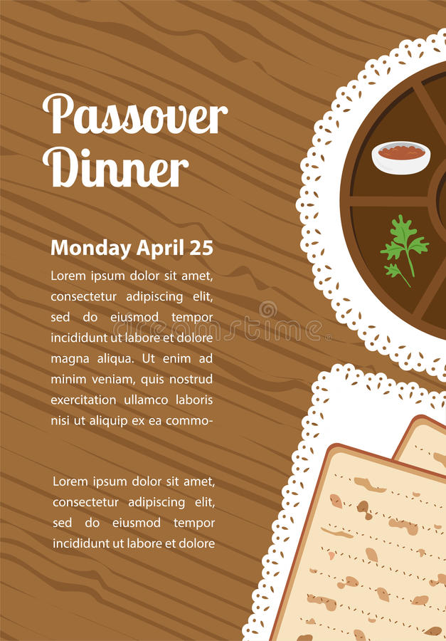 Passover dinner, seder pesach. table with passover plate and traditional food royalty free illustration