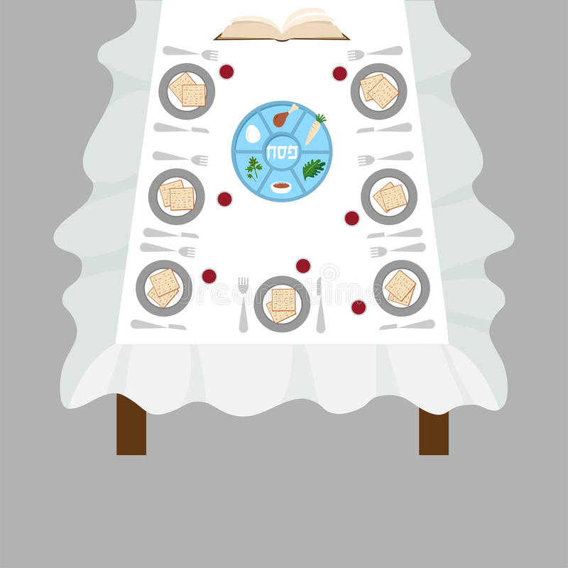 Passover dinner, seder pesach. table with passover plate and traditional food vector illustration