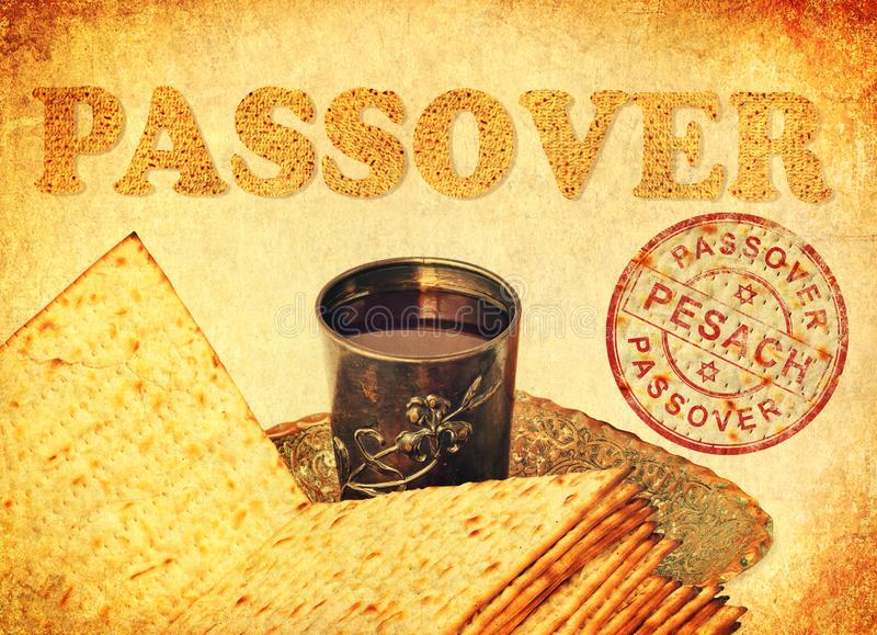Passover food symbols of a great Jewish holiday stock image