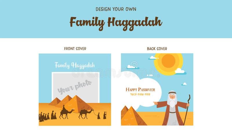 Passover hagady projekta szablonu hagady książkowe pokrywy Opowieść żyd exodus od Egipt tradycyjne ikony i ilustracja wektor