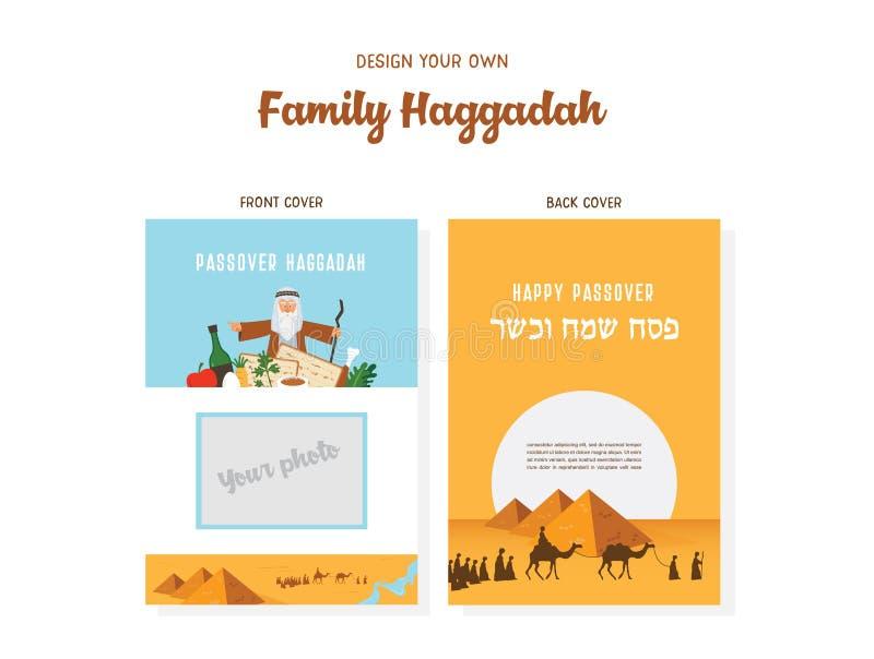 Passover hagady projekta szablonu hagady książkowe pokrywy Opowieść żyd exodus od Egipt tradycyjne ikony i ilustracji