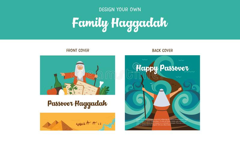Passover Haggadah design template- haggadah book covers. The story of Jews exodus from Egypt. traditional icons and. Passover Haggadah design template. The story royalty free illustration