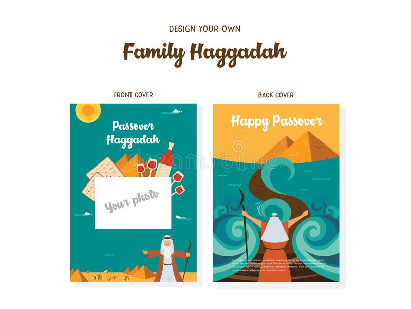 Passover Haggadah design template- haggadah book covers. The story of Jews exodus from Egypt. traditional icons and. Passover Haggadah design template. The story vector illustration