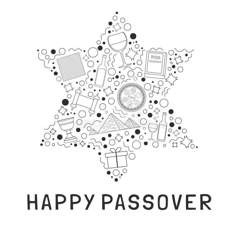 Passover holiday flat design black thin line icons set in star o. F david shape with text in english `Happy Passover royalty free illustration