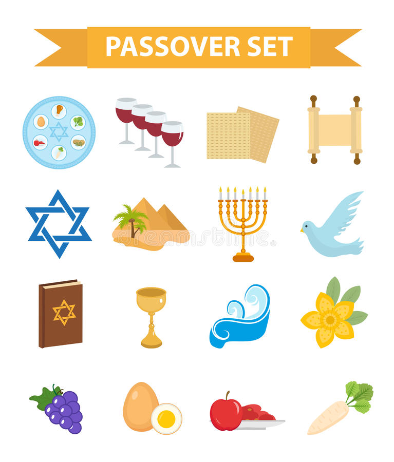 Passover icons set. flat, cartoon style. Jewish holiday of exodus Egypt. Collection with Seder plate, meal, matzah, wine. Torus, pyramid. Isolated on white stock illustration