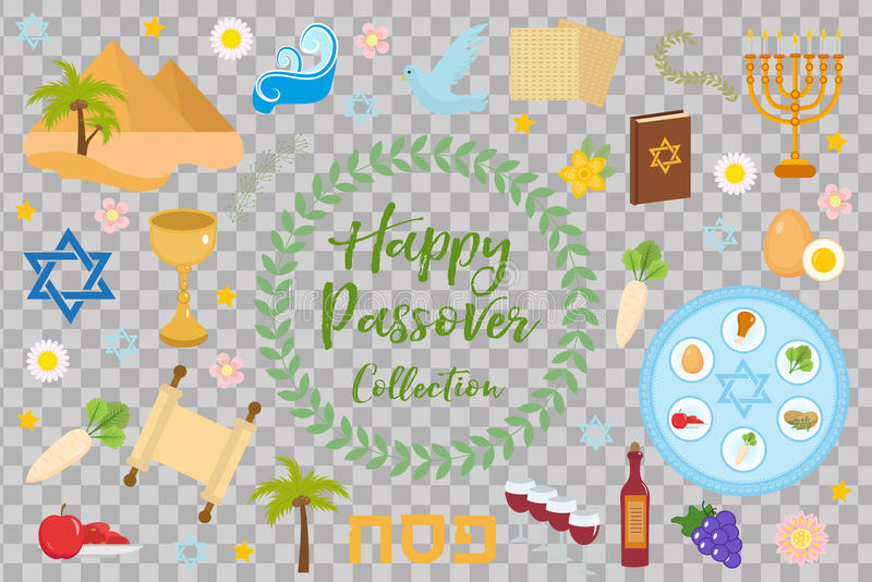 Passover icons set. flat, cartoon style. Jewish holiday of exodus Egypt. Collection with Seder plate, meal, matzah, wine. Torus, pyramid. on white background vector illustration
