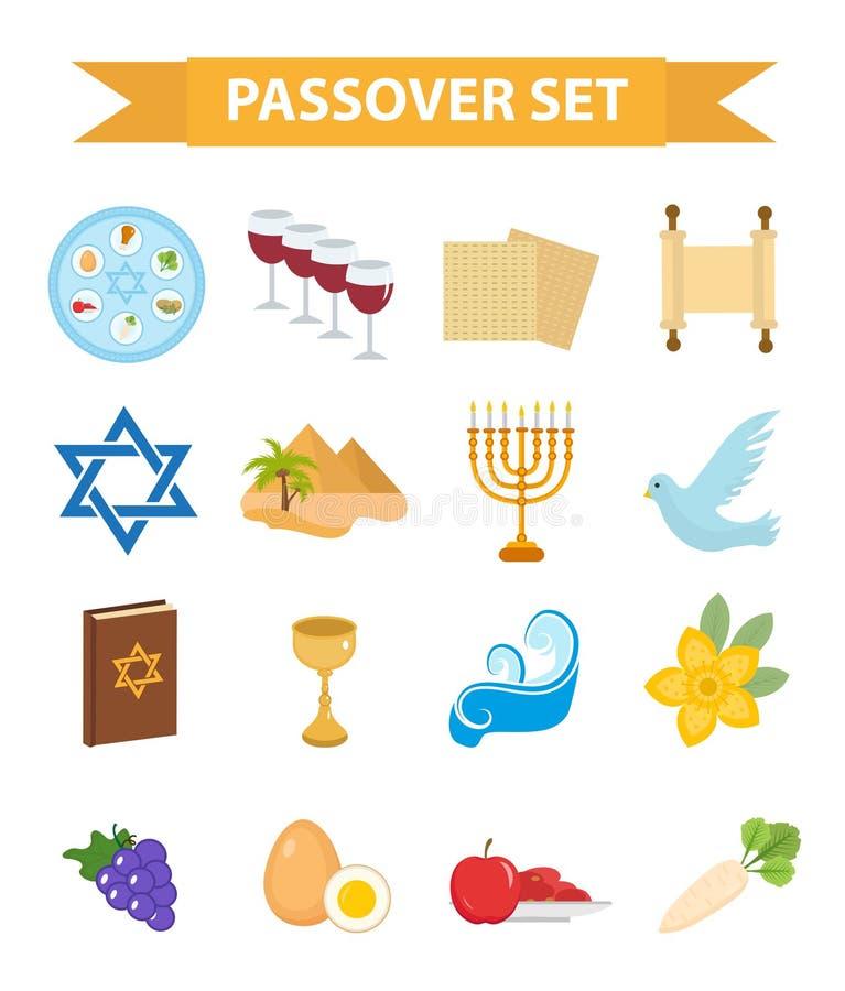 Passover ikony ustawiać Mieszkanie, kreskówka styl Żydowski wakacje exodus Egipt Kolekcja z Seder talerzem, posiłek, matzah, wino ilustracji