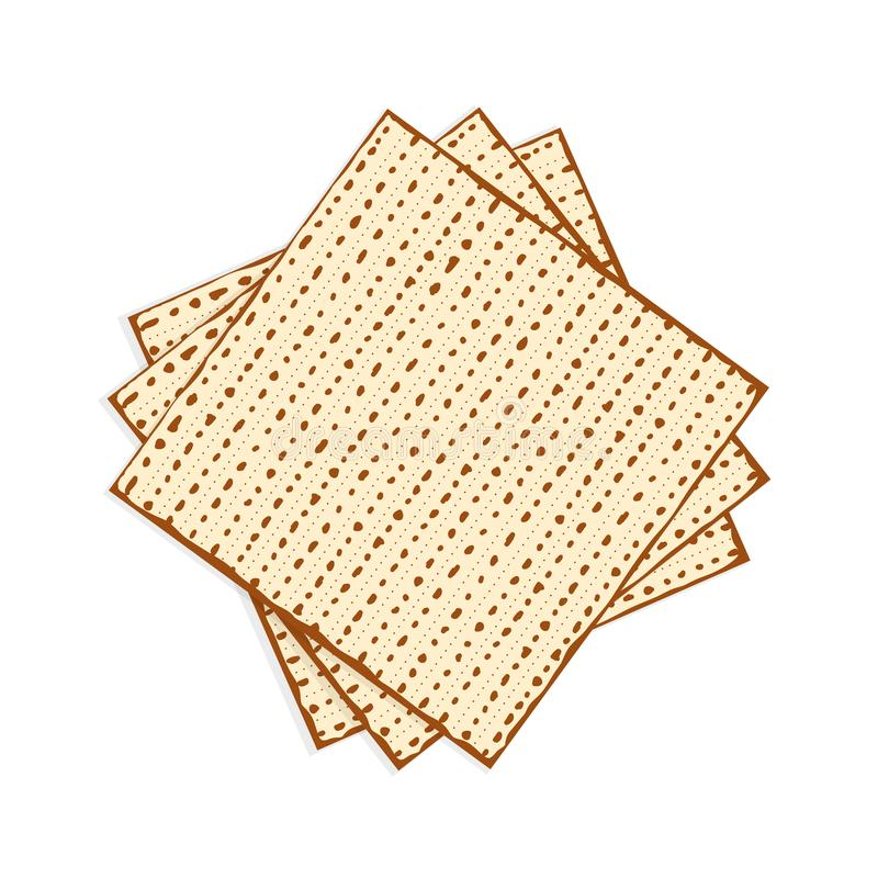 Passover matzah, unleavened bread. Matzah or matzo, unleavened bread for Pesach, Jewish holiday of Passover, isolated on white background, design element stock illustration