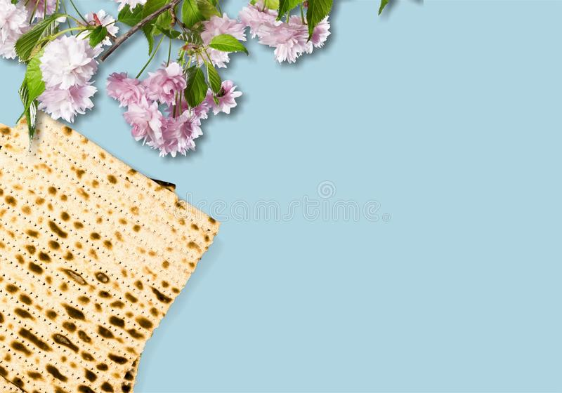 Passover. Pesach card spring backdrop background bread stock photo