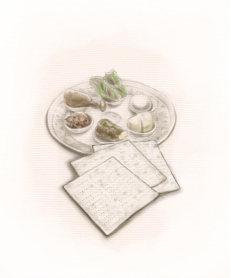 Passover plate stock image
