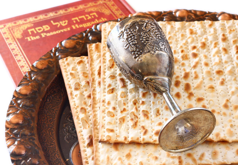 Passover plate wine cup and matzoh royalty free stock photos
