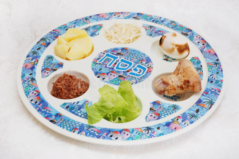 Passover seder plate. Close up of passover seder plate royalty free stock photos