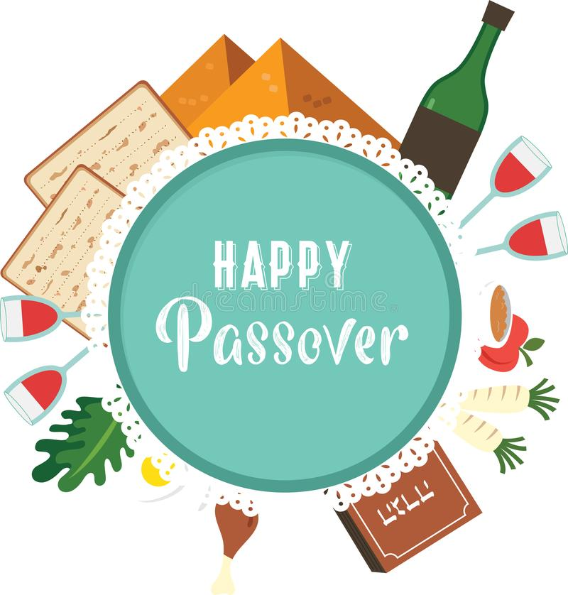 Passover seder plate with flat traditional icons. greeting card design template. vector illustration stock illustration