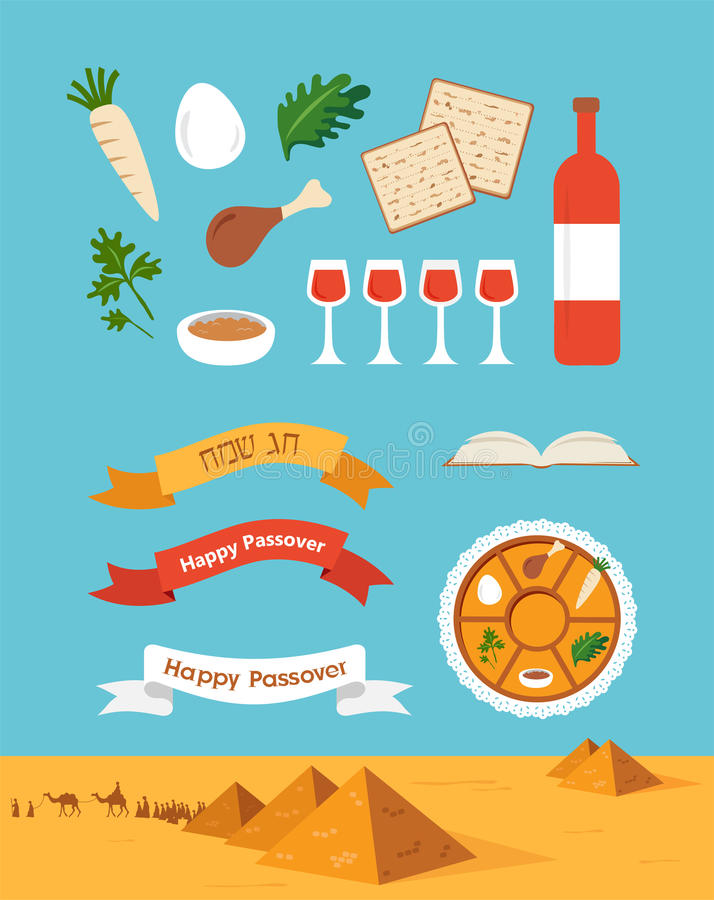 Passover seder plate with flat trasitional icons over a desert background vector illustration