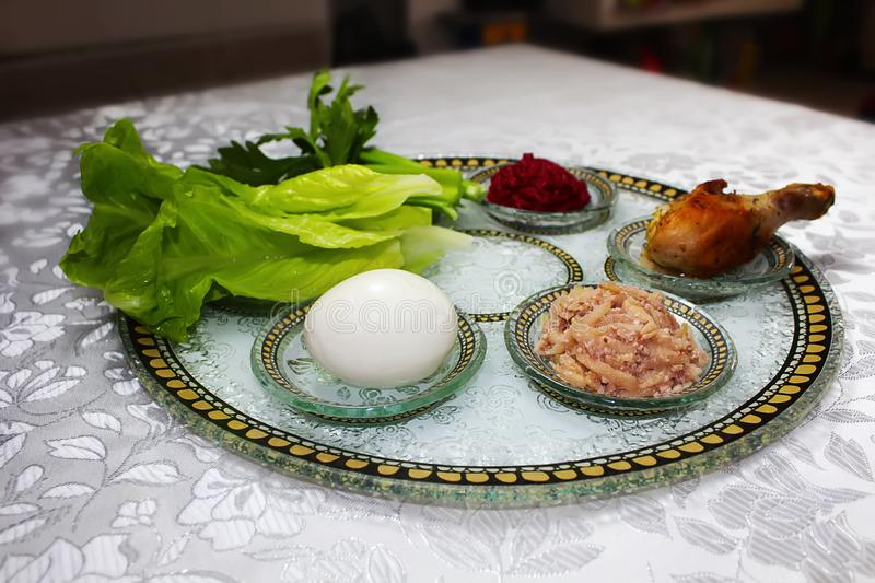 Passover Seder plate Israel, Hebrew: Passover bowl. Passover: the traditions and customs of the Jewish holiday. Symbolic foods. Symbolic foods for Passover stock image
