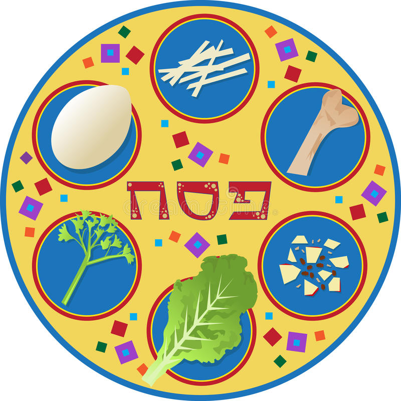 Passover talerz ilustracji