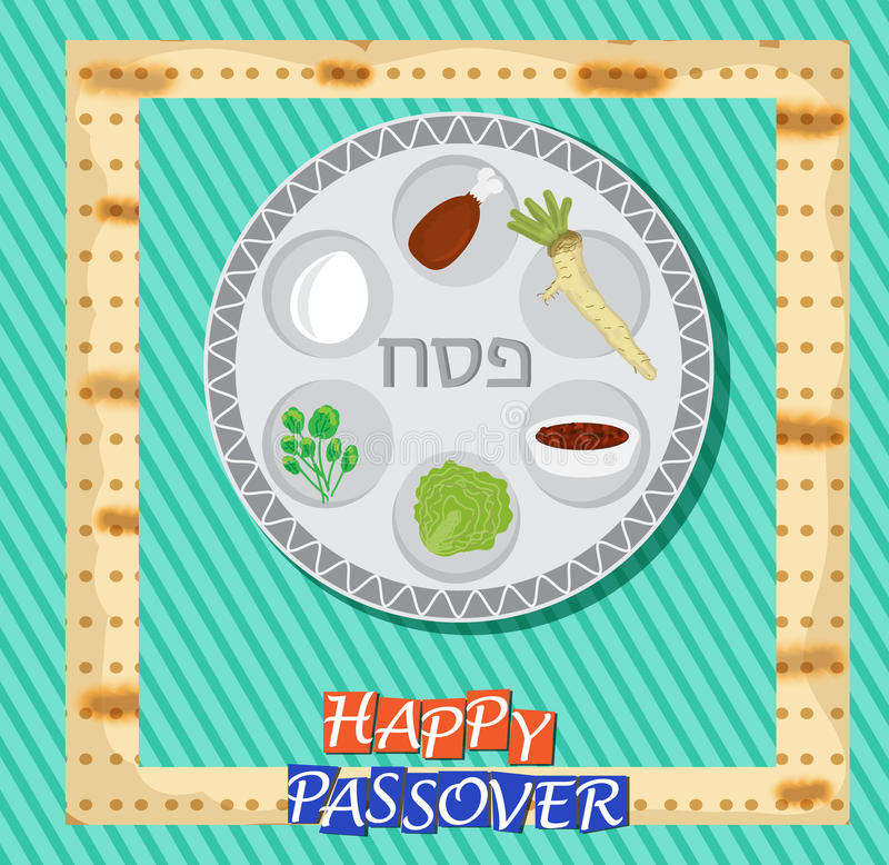 Passover vector card with hebrew text - Passover. Eps 10 royalty free illustration