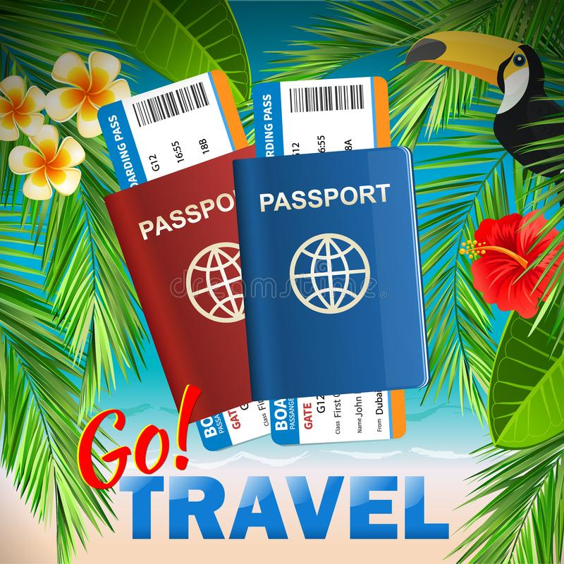 Passport with airline tickets on tropical sea background - International tourism travelling concept. Go travel stock illustration