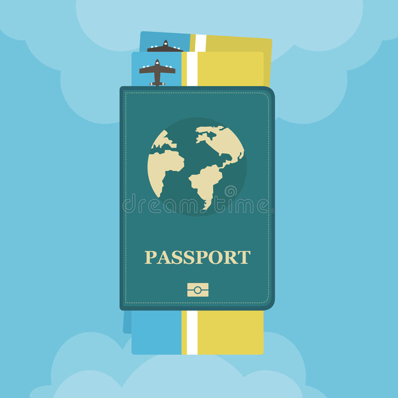Passport with airplane tickets with clouds flat. Concept icon travel and tourism. vector illustration