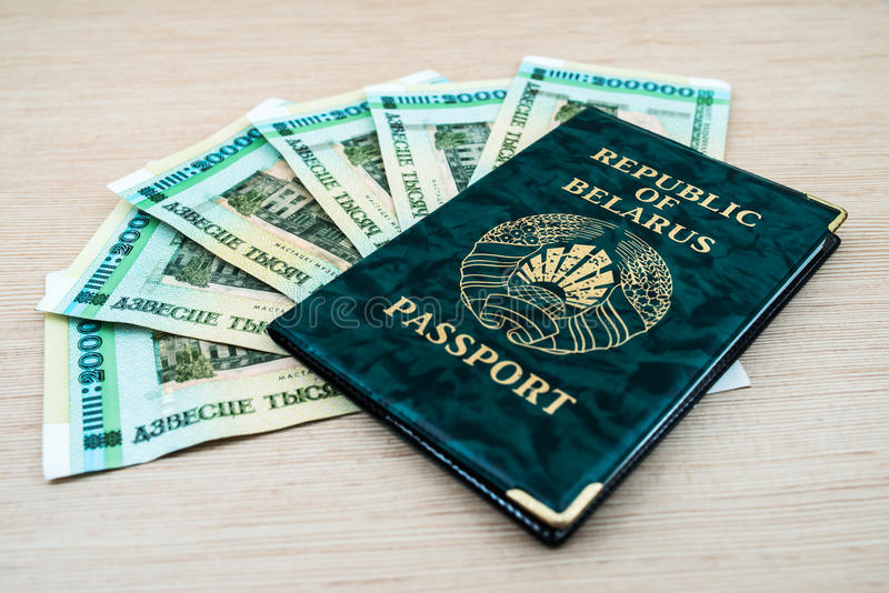Passport of Belarus with rubles royalty free stock images