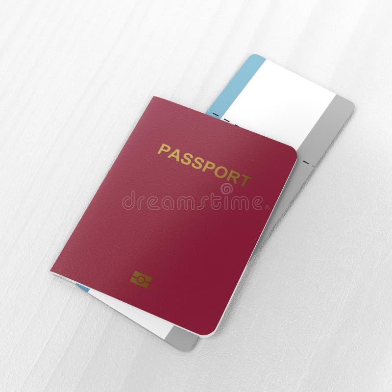 Passport and blank boarding pass stock illustration