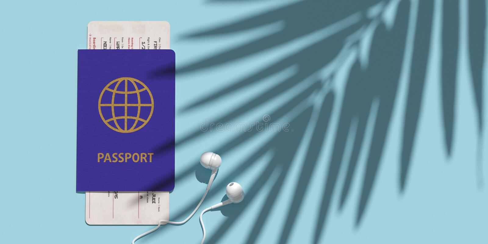 Passport, boarding pass, airplane ticket on table top view. Palm shadow. Minimalism concept of travelling. 3d stock image