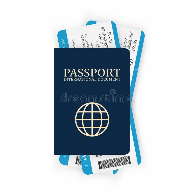 Passport with boarding pass. Two airplane tickets inside passport. Air travel concept. Tourism concept royalty free illustration
