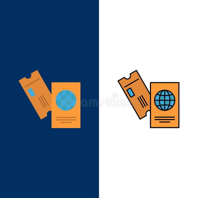 Passport, Business, Tickets, Travel, Vacation  Icons. Flat and Line Filled Icon Set Vector Blue Background stock illustration