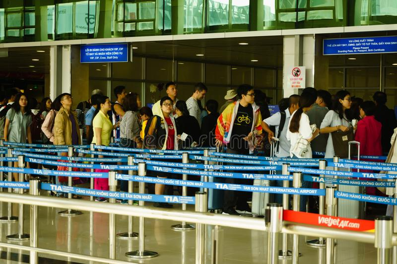 Passport control at the international airport in vietnam royalty free stock photo