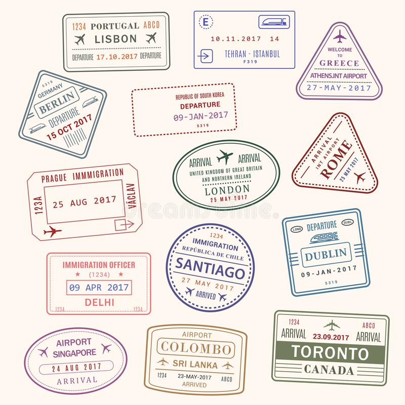 Passport stamp vector city and country icons set. Passport country stamps vector set of Lisbon Portugal, Athens Greece or London Britain and Toronto Canada stock illustration