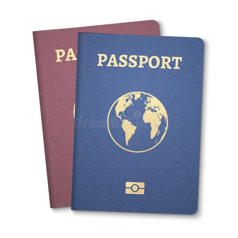 Passport document ID. International pass for tourism travel. Emigration passport citizen ID with globe.  royalty free illustration