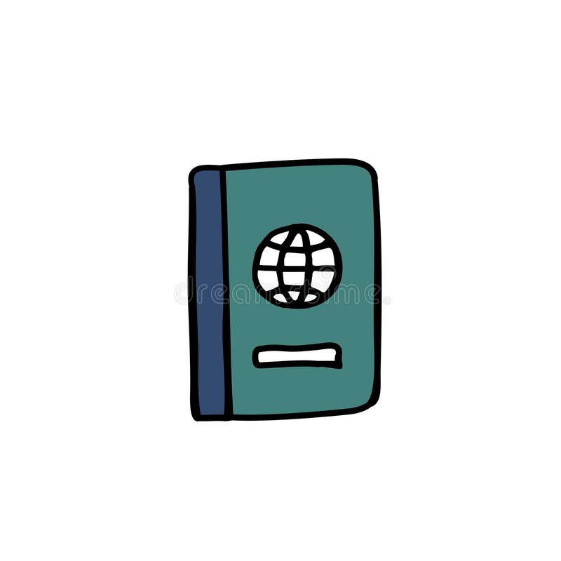 Passport doodle icon. Passport doodle color icon, vector illustration royalty free illustration