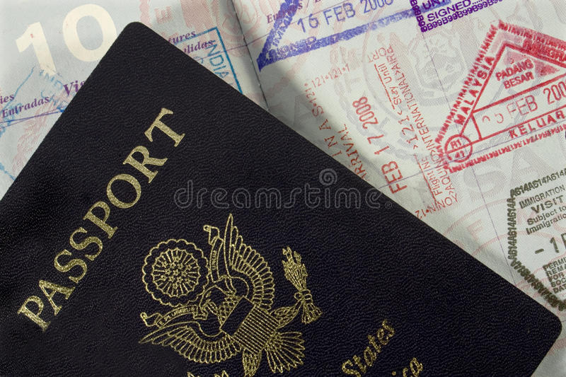 Passport with Entry Stamps royalty free stock image