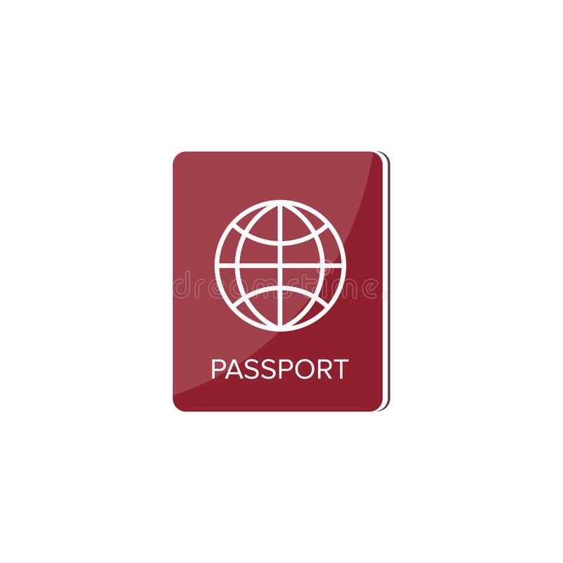 Passport in a flat style. Travel, emigration. Citizenship. Passenger document. Vector illustration. Passport in a flat style. Travel, emigration. Citizenship royalty free illustration